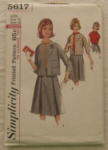 Vintage Jacket Skirt Blouse Sewing Pattern*Simplicity 5617*Size 16*boxy*pleated