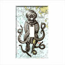 Octopus Diver Nautical Map Chart Single Light Switch Plate Wall Cover Room Decor