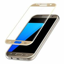 Genuine Tempered Glass Full Screen Protector Premium Gold EDGE Samsung Galaxy S7