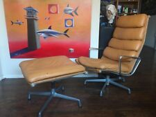 Eames Herman Miller Soft Pad Lounge & Ottoman Chair Tan Leather Mid Century