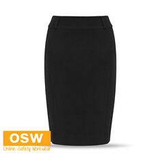 LADIES MODERN WORK STRETCH KNEE LENGTH DRESS SKIRT - NAVY/BLACK - SIZES 4-26