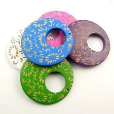 31076 Mixed Color Round Wooden Earring Dangle Charm Pendant 15pcs