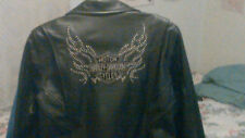 Woman's black leather sequenced Harley Davidson jacket