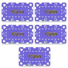 5 Ct Square Rectangular 32 Gram $500 Purple Poker Plaques Square Chips