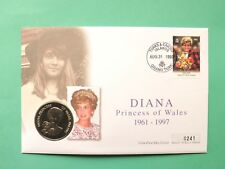 1998 Diana Princess of Wales Cover & UNC Turks & Caicos 5 Crowns coin SNo45434