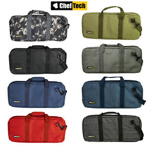 New CHEFTECH Knife Chef Roll Bag Fits 18 Pieces with Handles Red Black Camo