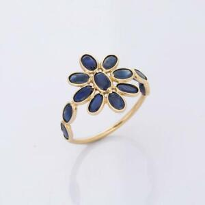Natural Blue Sapphire Birthstone Stackable Ring 10k Yellow Gold Flower Ring