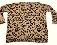 New CBR Leopard Print Chic Boutique Rose Shirt Blouse Brown Ikat Womens Sz S M L