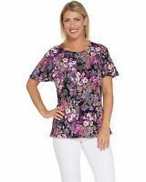 Denim & Co. Womens Floral Print Round-Neck Flutter Sleeve Top XS Purple A307659