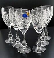Set of 6 Russian Cut Crystal Shot Glasses 2 oz - Soviet Sherry Liqueur Cordial