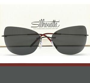 Silhouette Rimless Sunglasses TMA Ultra Thin 8147 6238 Black Grey Polarized Men
