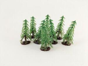 Vintage Plastic Diorama Trees Set of 8 Craft Supply 2.5 Inch Tall Retro Display