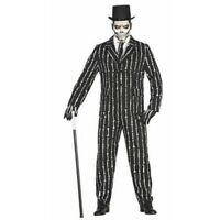 Deluxe SKELETON Bones SUIT Mens Halloween Fancy Dress Adult Costume