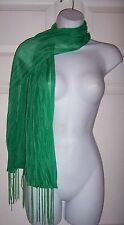 Women's Neck Scarf Green Zebra Print Sheer Light Knit & Fringed Damask t