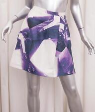 CARVEN Womens White+Purple Linen+Silk Print Pleated A-Line Skirt 40/8 M
