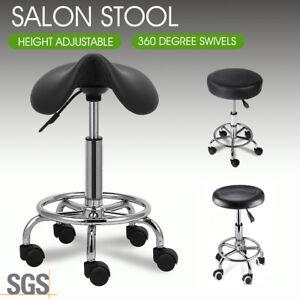 Salon Barber Stool Massage Hairdressing Chair Swivel Hydraulic Lift PU Black AU