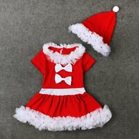 Toddler Kids Baby Girls Xmas Outfit Clothes Lace Tutu Dress+Hat 2PCS Set 1-6Y