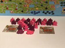 Carcassonne Meeple SET für extra Spieler pink oder violett + Wertungsplättchen