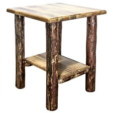 Rustic Log End Table Night Stand Amish Made Lodge Furniture Varnished