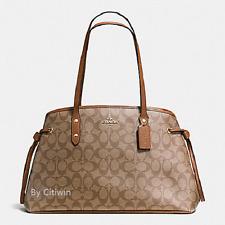 New Coach F57842 Drawstring Carryall Shoulder Bag Tote Handbag Purse Khaki Brown