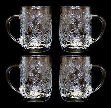 "Set of 4 Princess House Fantasia Crystal Mugs Floral Embossed Cups 10 Ounce 4"" T"