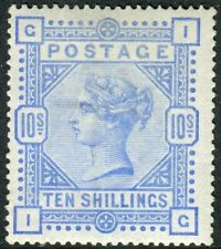 Sg 183 10/- Ultramarine.  A superb lightly mounted mint example