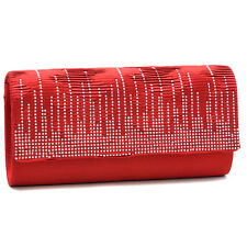 New Dasein Womens Handbags Pleated Rhinestone Sparkle Evening Clutch Day Bag Red