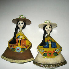 2 Vintage Paper Mache Folk Art Mexico Lady Dolls Hands Hold Flowers Figurine