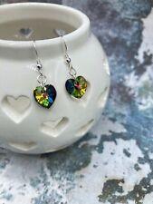 Heart Swarovski Love Green Crystal Dangle Earrings 925 Sterling Silver Free P+P