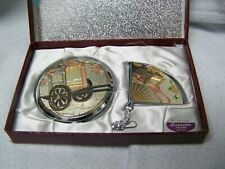 Ladies Elegance Powder  Asian Scene Compact and Mirror Set in box