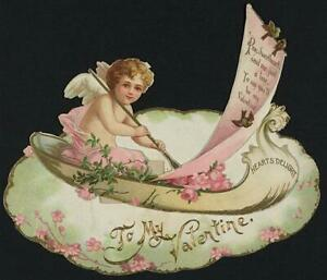 To my Valentine,angel,boat,Heart's Delight,Sweetheart,send a line,cards,18 3421