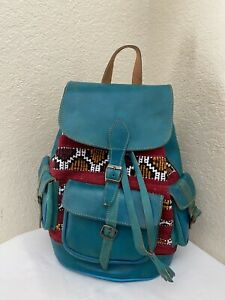 Handmade Aqua Leather Aztec Tapestries Drawstring Backpack