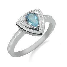 14K WHITE GOLD PAVE DIAMOND PEAR CUT BLUE TOPAZ HALO COCKTAIL GEMSTONE RING
