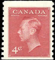 Canada Mint H  4c F+ 1950 Scott #300 King George VI Issue Coil Stamp
