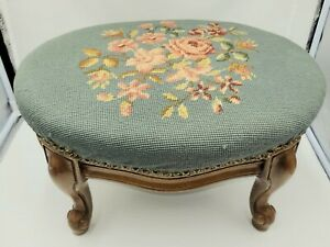 Vintage Wooden Footstool w/Needlepoint Cover. Ottoman or Stool.