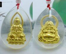 2 PCS 999 24K Yellow Gold Pendant Women & Men Guanyin And Buddha 30*21mm