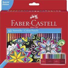 Faber-Castell Colour Pencils (Pack of 60) Metallic Neon Pastel Colours Art NEW