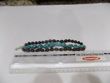 Three Strand Signed 925 Bracelet Handmade Wood Beads and Turquoise Nuggets