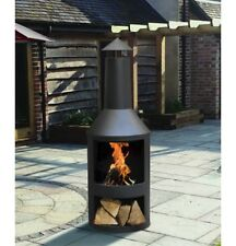 LARGE LOG BURNER GARDEN BLACK CHIMINEA OUTDOOR PATIO HEATER FIREPIT STEEL STORE