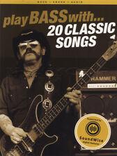 Suonare il basso con 20 CANZONI CLASSICHE Scheda Libro di musica con audio Rock Motorhead AC/DC