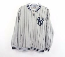 Vintage Mens Small New York Yankees Baseball Pinstripe #40 Bomber Jacket Gray