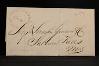 New York: New Lebanon Springs 1848 Stampless Cover, Red CDS, DPO Columbia Co