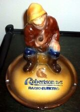 ULTRA RARE FIGURE CERAMIC ASHTRAY ROBERTSON RADIO-ELEKTRO ADVERTISING VINTAGE