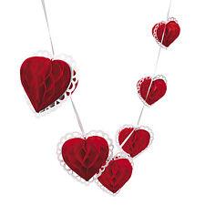 9ft Red & White Tissue Heart Garland Valentine Day Party Decoration