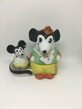Rare 1930s Disney Mickey Mouse Salt & Pepper Mustard Pot set German Porcelain