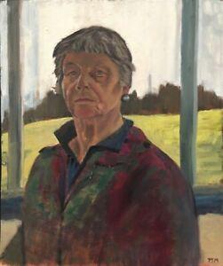 20th Century English School Oil on Board Self Portrait By Artist Penny Manners.