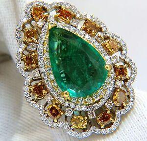 Certifié GIA 12.77ct Émeraude Naturel Chic Couleurs Cocktail Bague Diamant 18kt+
