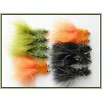 Trout Flies, Lures, 12 Pack Gold Head Fritz, Orange, Black and Olive, Size 10