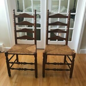 Pair of Vintage Ladderback Chairs with Wicker Seats