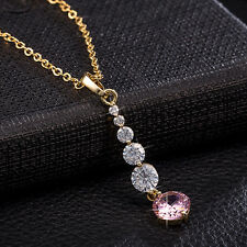 Fashion Forever Pink Crystal 24K Gold Filled Pendant Necklace Chain Jewelry